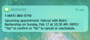 appointment reminder with cancellation