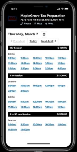 tax preparation booking app